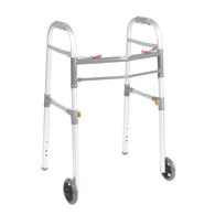 "Drive Medical 10253-1 Two Button Folding Universal Walker w/ 5"" Wheels"